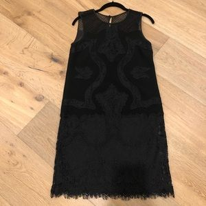 DVF black lace dress